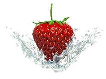 Red strawberry inside flowing water on white background Royalty Free Stock Images