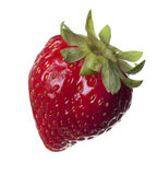 Red strawberry isolated on pure white background Stock Photo
