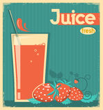 Red strawberry juice on card background. Royalty Free Stock Photography