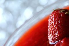 The red strawberry is a juicy and the most sumptuous fruit with a lot of vitamins. A ripe red strawberry is a pretty acidic flavor that can enslave many gourmet Stock Photography