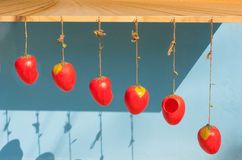 Red strawberry mobile hanging on blue Royalty Free Stock Photos