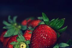 The red juicy strawberry. stock images