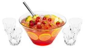 Red Strawberry Punch. Alcoholic drink isolated on white background Royalty Free Stock Images