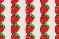 Red Strawberry seamless pattern in paper cut style. Origami Healthy food on pink. Summertime. Vector Royalty Free Stock Image