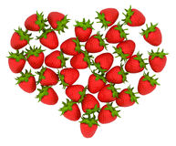 Red Strawberry shaped heart. Over white. Large resolution. Other fruits are in my portfolio Royalty Free Stock Photos