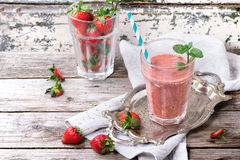 Red strawberry smoothie Stock Images