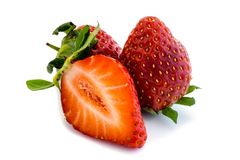 Red Strawberry strawberries fruit isolated white Background royalty free stock image