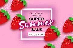 Red Strawberry Super Summer Sale Banner in paper cut style. Origami Healthy food on pink. Square frame for text. Summertime. Vector Royalty Free Stock Photos