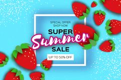 Red Strawberry Super Summer Sale Banner in paper cut style. Origami Healthy food on sky blue. Square frame for text. Summertime. Vector Stock Image