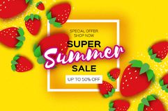 Red Strawberry Super Summer Sale Banner in paper cut style. Origami Healthy food on yellow. Square frame for text. Summertime. Vector Stock Image