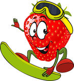 Red strawberry surfing - vector Royalty Free Stock Images