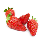 Red strawberry on a white background. Appetizing brightly red strawberry on a white background Royalty Free Stock Photography