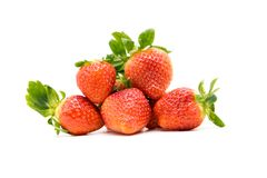 red strawberry is on a white background. stock photo