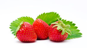 Red strawberry whith leaf isolated Stock Images