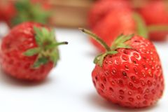Red strawberry on white background royalty free stock images