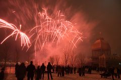 Red streaks. A winter fireworks display in the Old Port of Montreal royalty free stock images