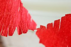 Red streamer. Close up of red streamer Stock Image