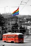 Red street car. Under rainbow flag in Castro, San Francisco Stock Photography