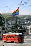 Red street car. Under rainbow flag in Castro, San Francisco Royalty Free Stock Photos