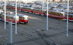 Red street cars are on the track in the tram depot Royalty Free Stock Photo