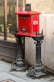 Red street mail box in Europe, Budapest, Hungary. Red street mail box for correspondence in Europe, Budapest, Hungary Stock Photography