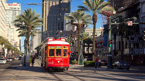 Red Streetcar on Canal Street in Downtown New Orleans. Louisiana Stock Image