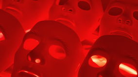 Red stress concept background. Mystery human face sad masks stock footage
