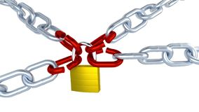 Red Stressed Links on Four Metallic Chains Locked with One Padlock in Infinite Rotation stock video