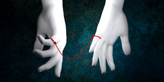 Fate. The gods tie an invisible red cord around the ankles or fingers of those that are destined to meet one another in a certain situation or help each other in Royalty Free Stock Image