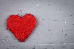 Red string heart, closeup view Royalty Free Stock Photos