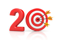 Red stripe targets with arrow form the red number 20. Accurate shot metaphors Royalty Free Stock Images
