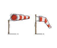 Red Stripe Windsock Vector Illustration. Airport windsock showing no wind and windy weather. Red striped wind bag vector illustration. Meteorological weathercock Royalty Free Stock Image