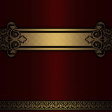 Red striped background with gold vintage border. Stock Photos
