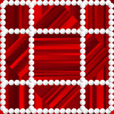 Red striped background with white beads. Stock Photography