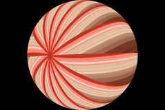 Red Striped Ball Abstract. A digitally generated red striped ball on a black background Stock Photo