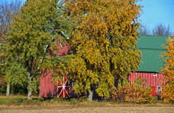 Red striped barn Royalty Free Stock Photo