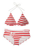 Red Striped Bikini Stock Photo