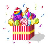 Gift box of candies and fireworks. Red striped box with candies, sweets, sugarplum, lollipop and firework on  background Royalty Free Stock Photography