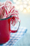Red striped candy canes in a red mug Royalty Free Stock Photos