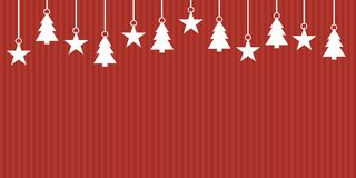 Red striped Christmas banner. Simple red striped christmas banner with white hanging christmas decoration royalty free illustration