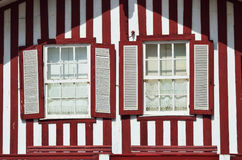 Red striped colored house, Costa Nova, Beira Litoral, Portugal Stock Photo