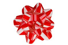 Red Striped Gift Bow (isolated) Stock Image