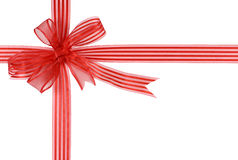 Red striped gift ribbon bow isolated on white background Royalty Free Stock Photo