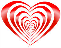 Red striped heart Royalty Free Stock Photography