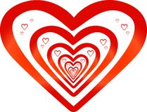 Red striped hearts Stock Image