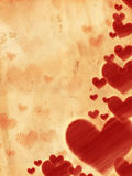 Red striped hearts on old paper Royalty Free Stock Image