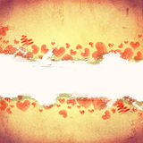 Red striped hearts on old paper with text space Royalty Free Stock Images