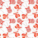 Red striped lollypops watercolor seamless vector print. Red striped lollypops with love watercolor seamless vector print Stock Photo
