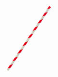 Red striped papaer straw isolated on white. Background Royalty Free Stock Images
