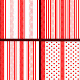 Red striped polka dot patterns Stock Photos